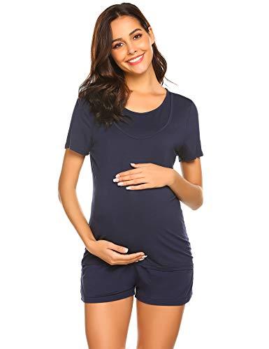 kurzer Umstandspyjama für Schwangerschaft und Stillzeit