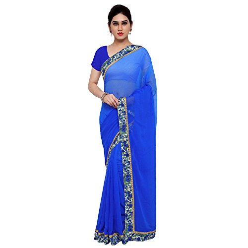 Aaina Blue Faux Georgette Embroidered Saree with Blouse  available at amazon for Rs.429