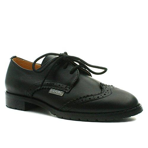 STINGFORD Step2wo School Shoe Laceup for Girls >     > Chaussures à lacets école pour les filles Black Lea (noir)