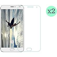 (Pack de 2 unid) Protector de pantalla Cristal templado para Meizu Mx5 Calidad HD, Grosor 0,3mm, Bordes redondeados 2,5D, alta resistencia a golpes 9H. No deja burbujas en la colocación (Incluye instrucciones y soporte en Español)