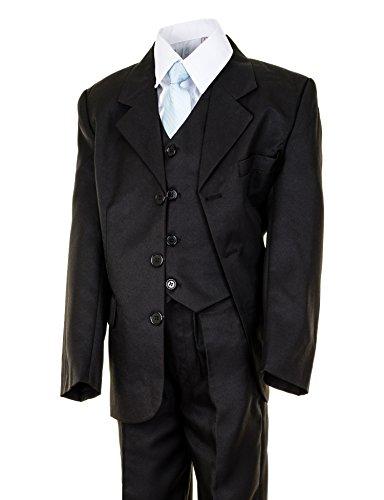 Festlicher 5tlg. Jungen Anzug in vielen Farben M290sw Schwarz Gr. 10 / 128 / ()