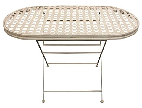 Woodside Oval Folding Metal Garden Patio Dining Table Outdoor Furniture