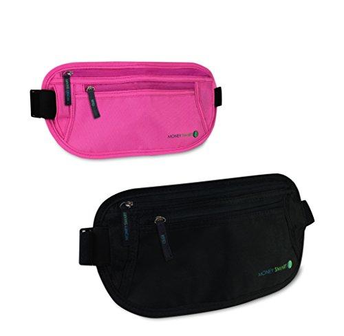 Money Smart (Pack de 2) Riñoneras de Viaje Interiores con Tecnología RFID, Discreto Cinturón Porta Dinero Oculto para Pasaporte, Tarjetas, Carnés, 1 Negro 1 Rosa