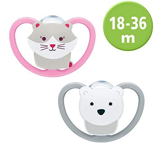 NUK  Ciuccio ortodontico in silicone, motivo: gatto e orso polare, pacco da 2, 8-36 Mesi