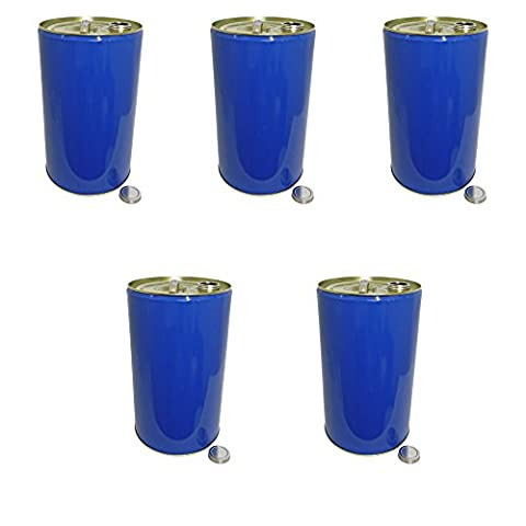 25 Litre Ltr L Blue Metal Barrel Drum Tinplate with Screw Lid UN Approved for Storage Solvent Based Products Paint Oil Chemicals