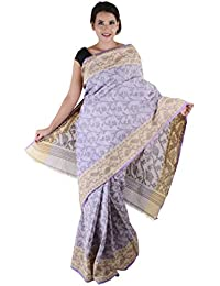 Khadi Cotton Saree - Light Purple With Cream Border Braso
