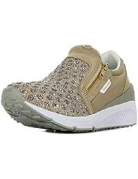 Versace J E0VNBSB2 75557 807 Scarpe Donna Sneaker con Tacco, Tacco Basso, Primavera Estate Nuova Collezione 2016 Pelle E Tessuto Grigio Chiaro