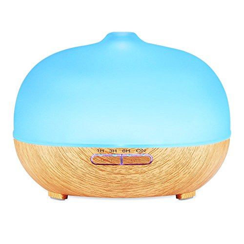 Amir 300ml Cool Mist Ultrasonic Humidifier, Glass Essential Oil Diffuser - 4 Timer Settings, 10 Hours Continuous Mist, 7 Color Changing LED, Waterless Auto off- for Office, Spa, Baby Room, Etc Test
