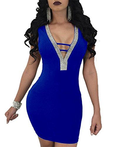 Boutiquefeel Damen Tief V Rückenfreies Ladder Bodycon Mini Bandage Kleid Blau XL (Cut Out Dress Mini)