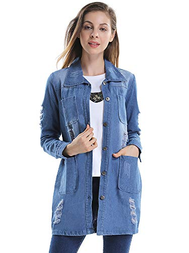 OCHENTA Girls Loose Fit Long Sleeve Vintage Denim Light Wash Faded Boyfriend Jean Jacket