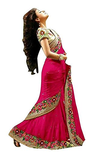 Bollywood Craze Pink Color Chiffon & Banglori silk Fabric Embroidery Work Saree...