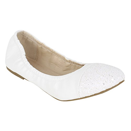 Klassische Damen Ballerinas   Flats Leder-Optik Lack   Metallic Schuhe Glitzer Schleifen   Ballerina Schuhe Übergrößen Weiss Weiss Glitzer