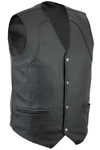 Herren Bikerweste - Leder - klassische Passform mit 4 Taschen - Größen S-12XL - 8XL - 152 cm Brustumfang -
