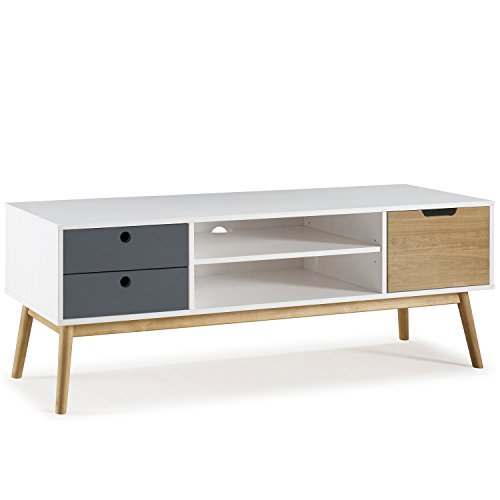 Mueble TV Leti Blanco, pino macizo, 1 puerta y 2 cajones, 140 cm