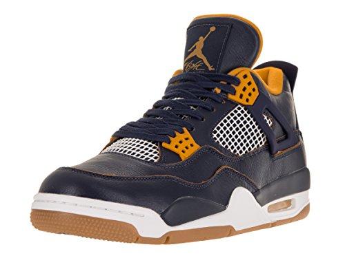 Foto de Nike Air Jordan 4 Retro, Zapatillas de Deporte para Hombre, Azul/Amarillo/Blanco (Mid Nvy/Mtllc Gld-Gld Lf-White-), 41 EU