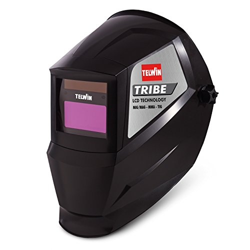 Telwin 802837 Tribe Maschera Automatica per Saldatura Mma/Mig-Mag/Tig, 0.1 V, Nero, Tribe