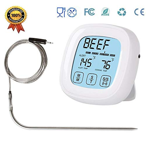 Tenlso 2019 Fleischthermometer, mit Alarm-Timer, digitaler Touchscreen, programmierbar, sofort ablesbar, 101,6 cm Sonde, Lebensmittel-Thermometer für Grill, Huhn, Rind, Schweinefleisch, Truthahn -