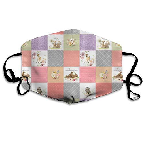 Forest Animals Patchwork Cheater Quilt - Baby Girl Blanket, Bear Owl Squirrel Deer - Peach Coral Lavender + Gray - EMILY Pattern Anti Dust Mask Anti Pollution Washable Reusable Mouth Masks - Miami Peach