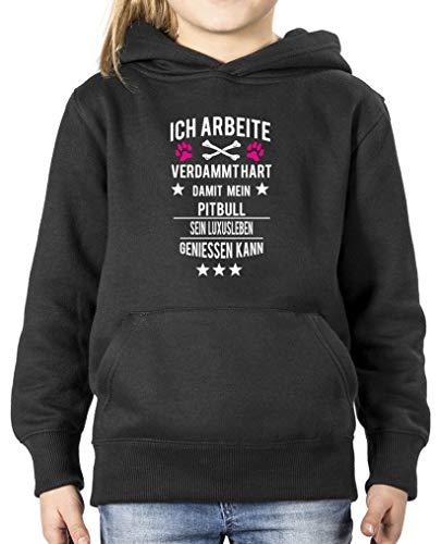 Comedy Shirts - Ich arbeite verdammt hart damit Mein Pitbull. - Mädchen Hoodie - Schwarz/Weiss-Pink Gr. 134/146