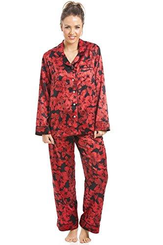 Camille - Damen Schlafanzug aus Satin mit Blumenmuster - schwarz/rot 38 (Satin Pyjama Floral)