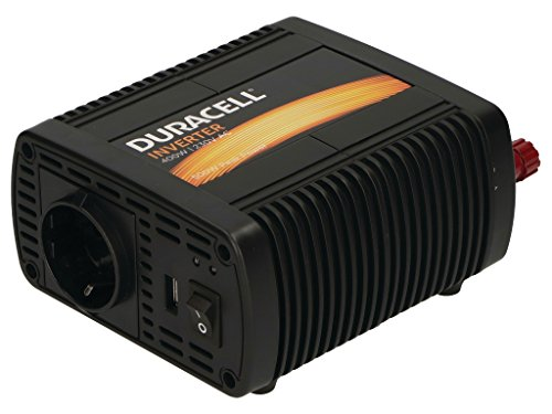 Duracell DRINV40-EU Single EU Socket Inverter 400W DC 12V auf AC 230V Wechselrichter mit 1 USB Anschlüsse Schwarz - 230v Single