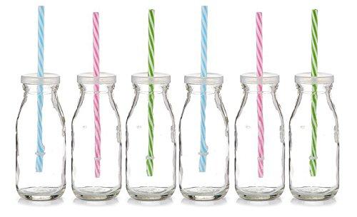 6x ZELLER GLAS FLASCHE 250ml Countrystyle mit STROHHALM und Deckel TRINKFLASCHE DEKO VASE
