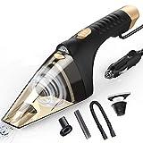 Jumedy Kabelgebundener Auto-Staubsauger mit LED-Licht - nasser/trockener tragbarer Auto-Staubsauger, Netzkabel-Länge 1,9