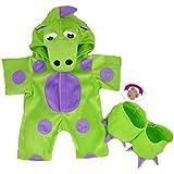"""Construya su Bears Armario 15-Inch Ropa Fit Construye oso Diseño de ositos """"Mi disfraz de verde dinosaurio"""""""