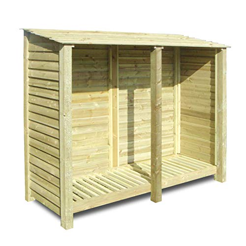 Rutland County Garden Furniture NORMANTON 6FT WOODEN LOG STORE/GARDEN STORAGE, GREEN, HEAVY DUTY, HAND MADE, PRESSURE TREATED.
