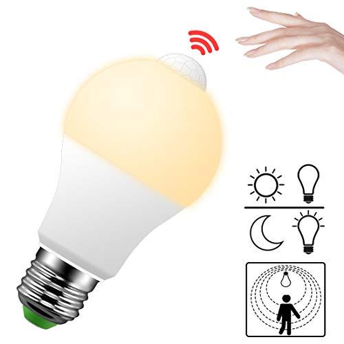 LED Lampe mit Bewegungsmelder E27 Bewegungsmelder innen PIR Sensor 9W Warmweiß 2700K Glühbirne Birne für Innenraum Treppe Flur