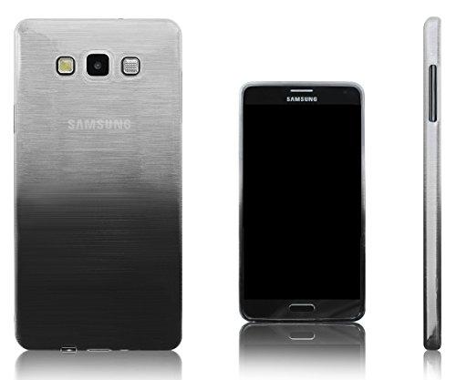 Xcessor Transition Color Custodia per Samsung Galaxy A7 SM-A700F. Flessibile TPU Gel Con Gradient Della Filo Di Seta Texture. Trasparente / Grigio