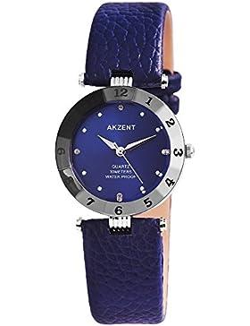 Akzent Damen analog Armbanduhr mit Quarzwerk SS7323100035 Metallgehäuse mit Kunstleder Armband in Dunkelblau und...