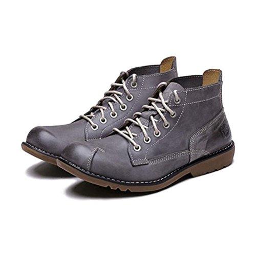 Zapatos Para Hombres Ocio Cuero Tendon Vestido Otoño Business Boots Moda Slip On Brown-negro Gris