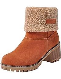 57bc2967dcbdd NEOKER Femme Bottes de Neige Fourrure Chaud Mode Courts avec Doublure  Bottines Haut Talon Hiver Chaussures Bottes Snow Boots 6 cm Noir…
