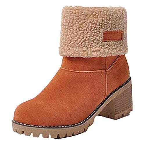 Damen Winterschuhe Schneestiefel Plateau Shorts Stiefel Chunky Heels Boots Stiefeletten Fell Bequeme Gefüttert Mode Schuhe 6 cm Orange 40
