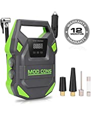 Mod Cons Tyre Inflator Car Bike Portable Air Compressor Pump Launch Green Model 12V 150PSI Digital Auto Tire Inflator with Emergency Led Light, Long Cable for Car Bike Motorcycle Basketball