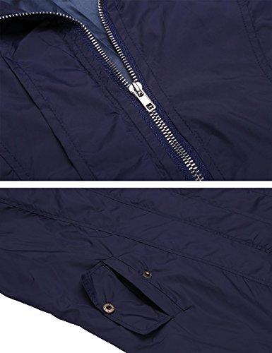 Funktionsjacke Damen Pagacat Winddicht Wasserdicht Lange mit Kapuze und Tasche Blau