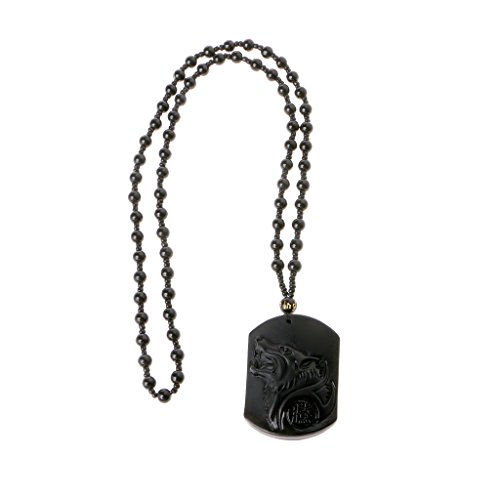 Guoyy Drop Shipping Black Obsidian Wolf Halskette Carving Wolf Kopf Amulett Anhänger mit Obsidian Kette Segen Lucky Anhänger Schmuck