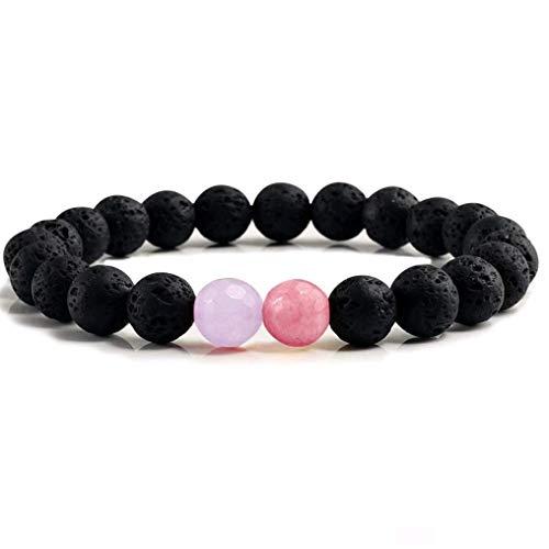 Dyad Jewellery Natürliches Lavastein Lavastein Perlenarmband mit Zwei Kontrastierenden Steinen in Violett, Lila, Mauve und Hellrubinrot -