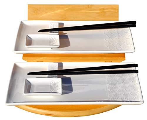 Wave & star white sushi set per 2