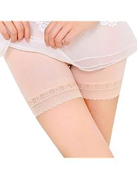 DOGZI Mujer Pantalones de Seguridad Moda Borde De Encaje Cintura Alta Pantalones De Seguridad Abdomen LenceríA...