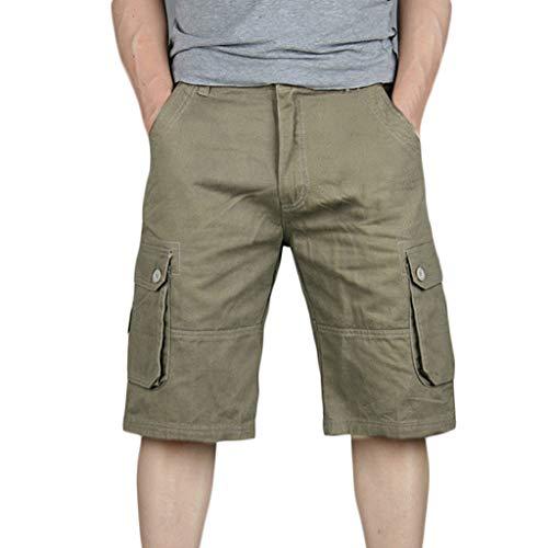 UJUNAOR Cargo Hose 3/4 Herren Bermuda Shorts Multi Tasche Army Sommer Kurze Freizeithose Baumwolle Gummibund Lässig(Gelb,36)
