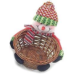 Oshide Weihnachten Bambus Korb, Santa Candy Korb Weihnachtsdekoration, Apple Bag Desktop Aufbewahrungsbox Geschenkkorb