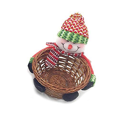 Oshide Weihnachten Bambus Korb, Santa Candy Korb Weihnachtsdekoration, Apple Bag Desktop Aufbewahrungsbox Geschenkkorb -