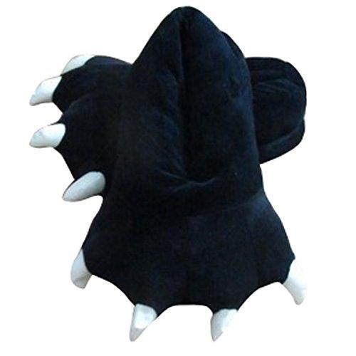 Aivtalk Damen Herren Flannel Schuhe Unisex Winter Hausschuhe Tier Cosplay Kostüme Zubehör Tierkostüme - Schwarz L für Größe ()