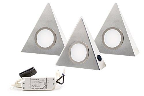Hochwertige 3er Set LED Dreieckleuchte Unterbauleuchte Küchenleuchte EDELSTAHL 3W 3000K Warmweiß mit Zentralschalter