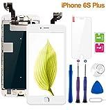 Display per iPhone 6S Plus Schermo Touch Screen Bianco LCD Vetro 5,5' Digitizer Parti di Ricambio (con Home Pulsante, Fotocamera, Sensore Flex) Kit Smontaggio trasformazione Completo di Ricambio