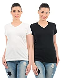 Monte Carlo Womens Plain Regular Fit Top (Pack of 2) (21808542-8-40_White and Black)