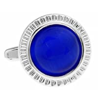 MFYS Classic Blue Glass Round Jewelry Cufflinks for Men with a Gift Box