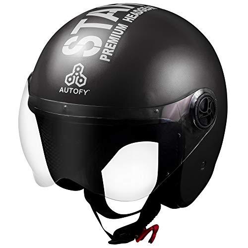 Autofy TROUPER Open Face Helmet (58cm - M, Black)